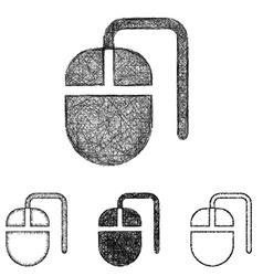 Mouse icon set - sketch line art vector