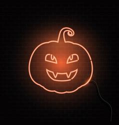 neon pumpkin sign halloween background vector image