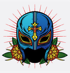 old school mask wrestler design vector image