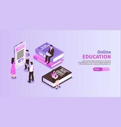 online education horizontal banner vector image