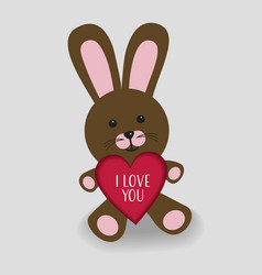 pink bunny with heart i love you vector image