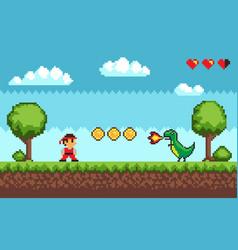 Pixel game duel between man and dragon vector