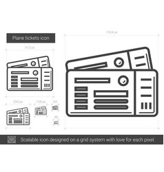 plane tickets line icon vector image
