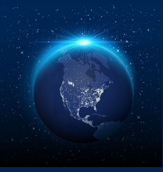 planet earth view from space to nocturnal america vector image