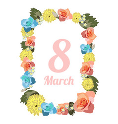 postcard to march 8 with flowers vector image