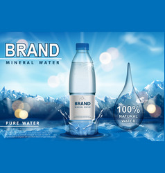pure sparkling water ad plastic bottle with vector image