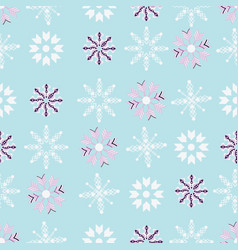 purple and white snowflakes on blue background vector image