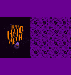 purple halloween banner with pattern vector image