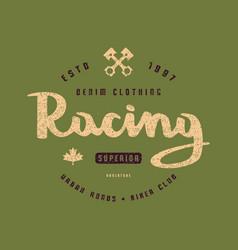 Racing club emblem for t-shirt vector