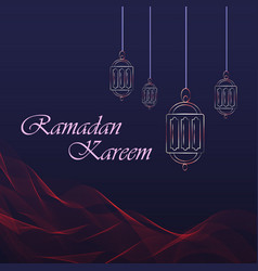Ramadan kareem greeting card hanging lanterns and vector