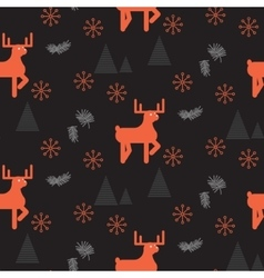Red deer in a dark woods seamless pattern vector