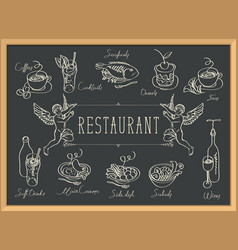 Restaurant menu with sketches different dishes vector