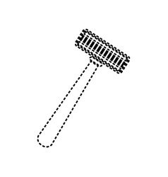 safety razor sign black dashed icon on vector image