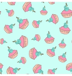 Seamless cupcake pattern with blue background vector image