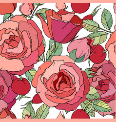 Seamless floral pattern with romantic rose flowers vector