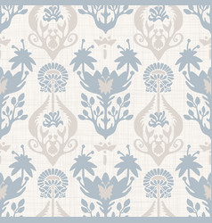 Seamless paisley pattern in french blue linen vector