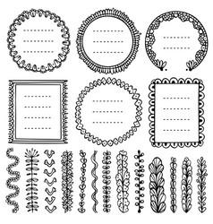 Set black doodle frames vignettes vector