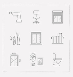 Set of decoration icons line style symbols with vector