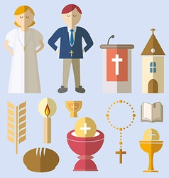 Set of design elements for First Communion vector