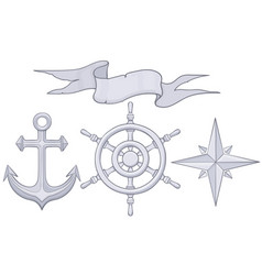 set of nautical elements steering wheel windrose vector image