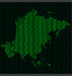 Silhouette of asia from binary digits on vector
