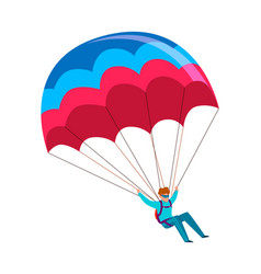 skydiver man jump with parachute active vector image
