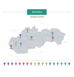 Slovakia map with location pointer marks vector