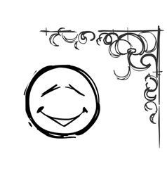 smiley face and pattern in the corner draw vector image