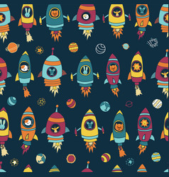 Space astronaut animals on blue seamless tile vector