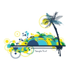 summer background with palm tree vector image