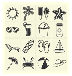 Summer beach icons vector
