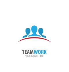 teamwork logo for business company simple vector image