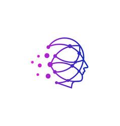 Technology human head logo icon design vector