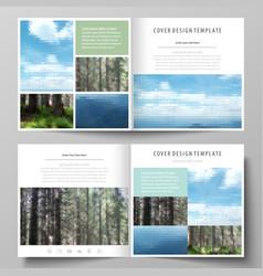 Templates for square design bi fold brochure vector