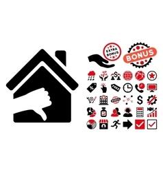 Terrible House Flat Icon with Bonus vector