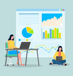 Two businesswomen workers analysing statistics vector