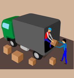 Two workers load truck with cargo vector