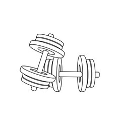 typesetting dumbbells outline fitness equipment vector image