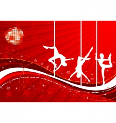 vector silhouettes dancing women vector image