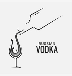 vodka bottle with glass vodka shot splash logo vector image