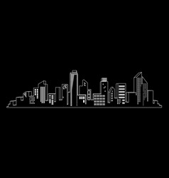 windows shine on city skylines in black and white vector image