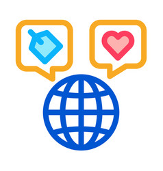 worldwide globe icon outline vector image