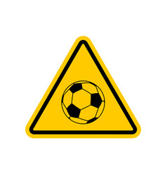 attention soccer danger yellow road sign vector image vector image