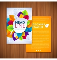 Flyer Brochure Design Template Leaves Natural and vector image vector image