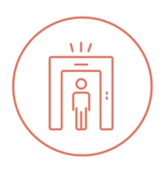 Man going through metal detector gate line icon vector image