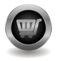 Metallic shopping cart button vector image vector image