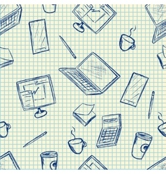 Pattern elements of office supplies vector image