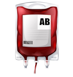 A blood bag with type AB blood vector image vector image