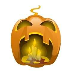Face carved from pumpkin and burning candles vector image