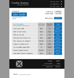 Invoice template - clean modern style of blue vector image